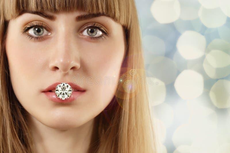 Fashion woman with diamond stock photos