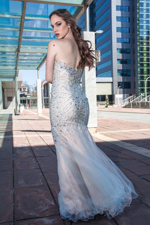 Fashion woman in dress stock image