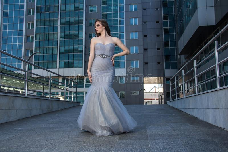 Fashion woman in dress royalty free stock photography