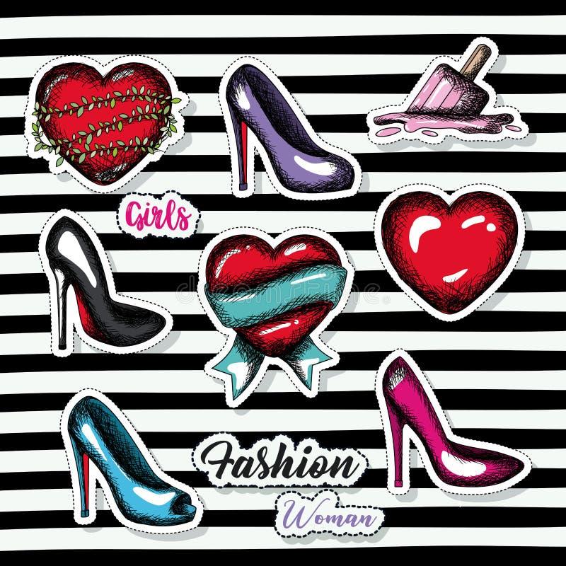 Fashion woman girls elements sticker on pop art diagonal stripe black background. Vector illustration royalty free illustration