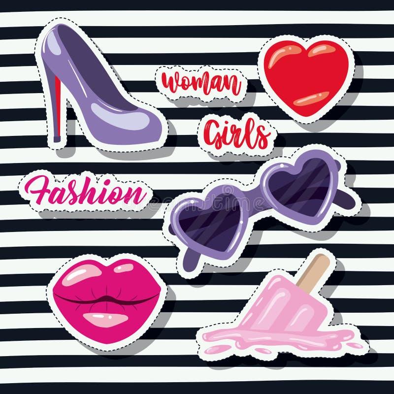 Fashion woman girls elements sticker on pop art striped black background. Vector illustration royalty free illustration