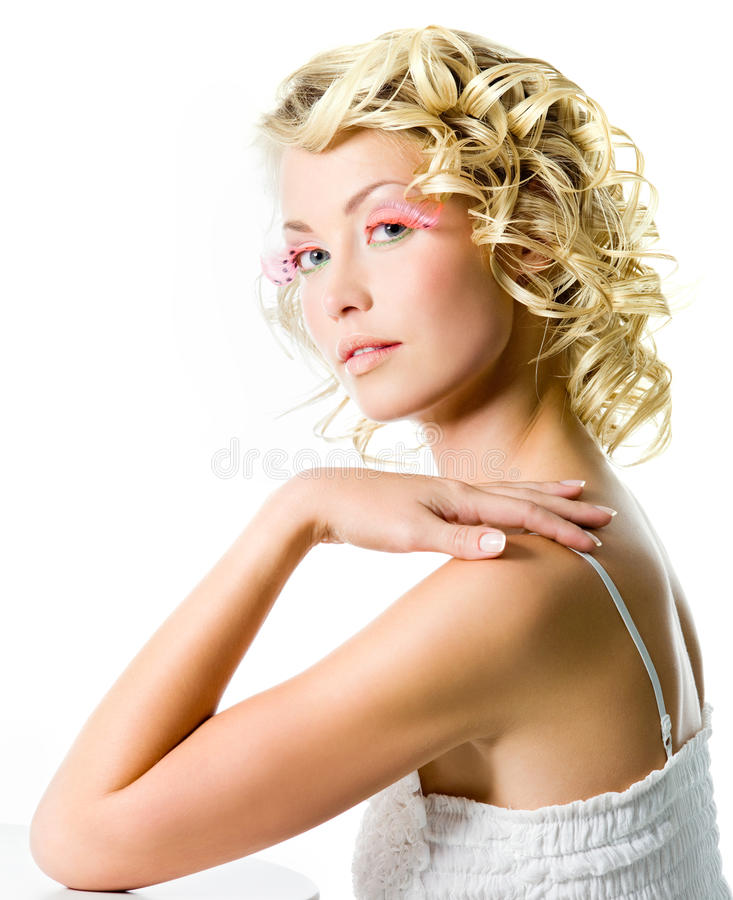Fashion Woman With Glamour Makeup Stock Photo