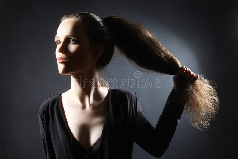 Fashion woman hairstyle ponytail stock images