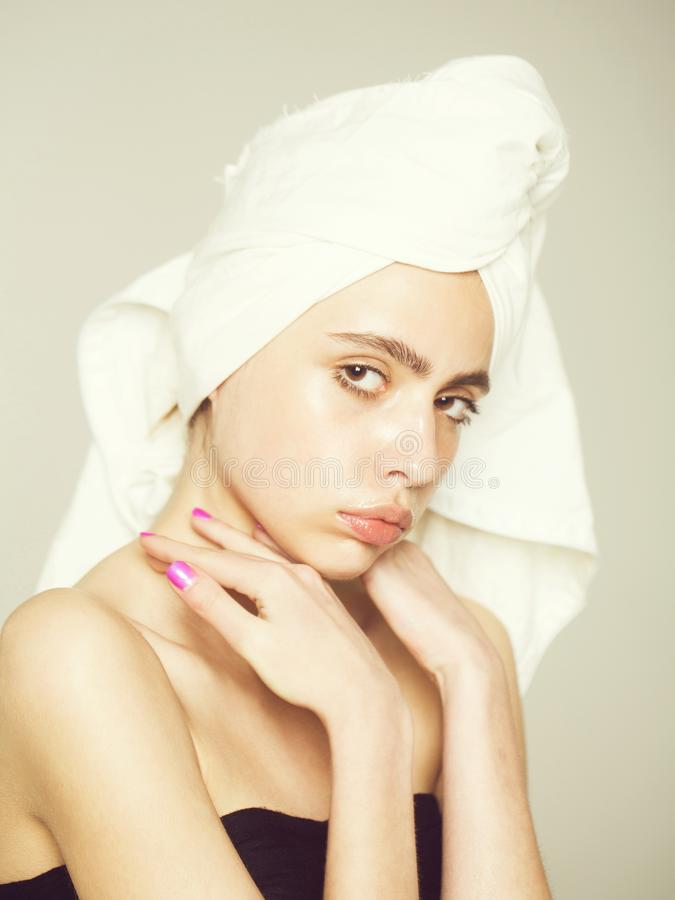 Fashion woman, health and youth, girl with towel stock image