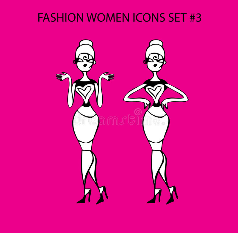 Fashion woman icon doodles tattoo girls part 1 fashionable lady