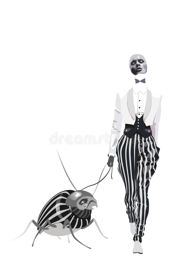 Free Fashion Woman In Striped Pantaloons Walking With Bug Royalty Free Stock Photos - 35988668