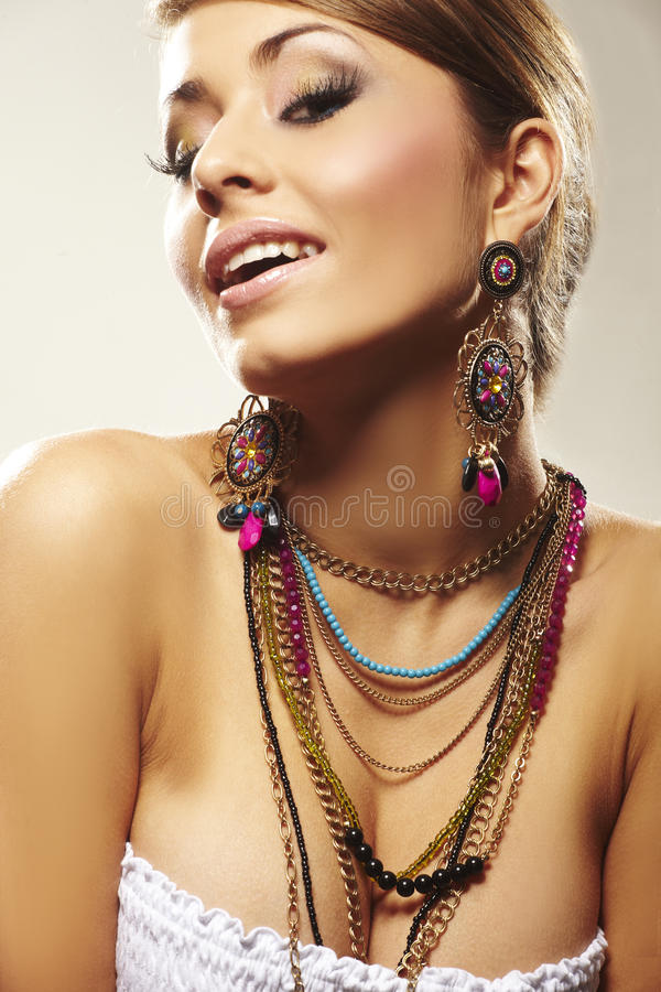 Fashion woman with jewelry royalty free stock images
