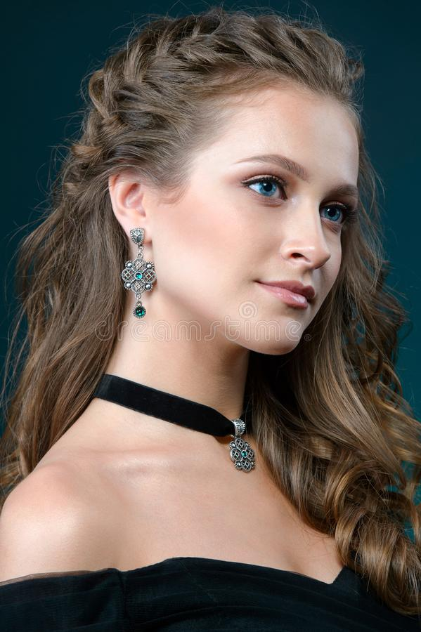 Fashion woman with jewelry set. girl with fashionable jewelry ne royalty free stock image