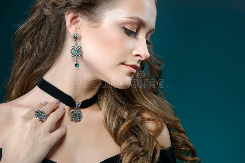 Fashion woman with jewelry set. girl with fashionable jewelry ne stock images