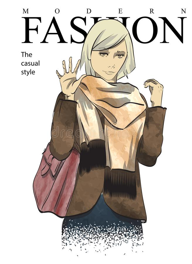 fashion woman in knitted scarf. Stylish beautiful young hipster woman royalty free illustration
