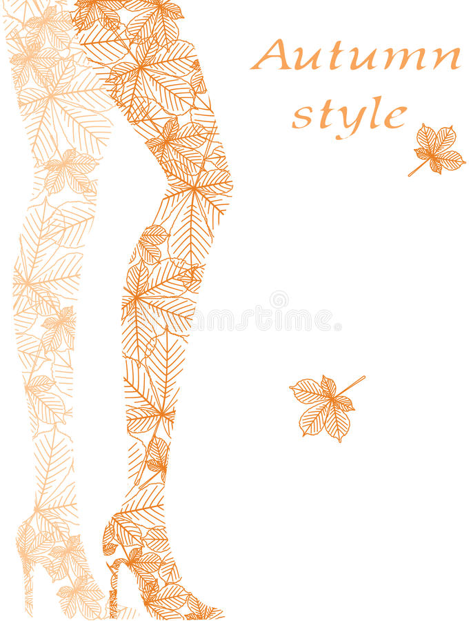 Download Fashion Woman Legs From Autumn Leaves Stock Vector - Image: 26827410