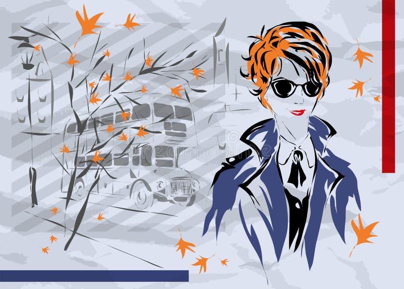 Fashion woman in London vector illustration