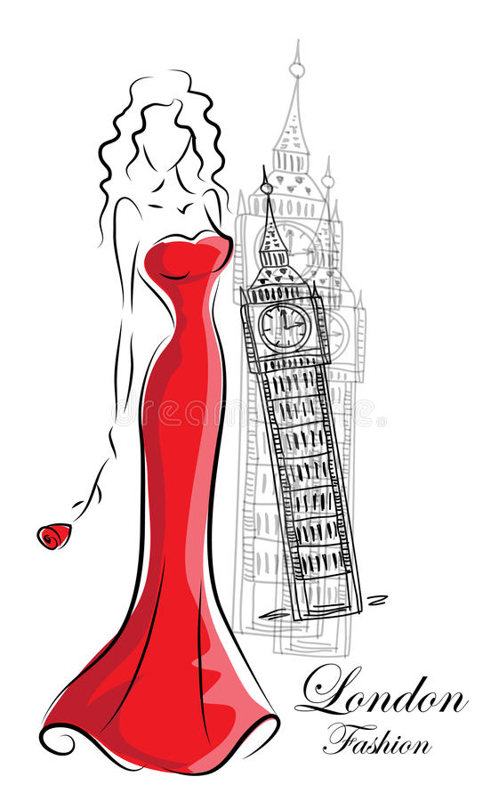 Fashion woman in London vector royalty free illustration