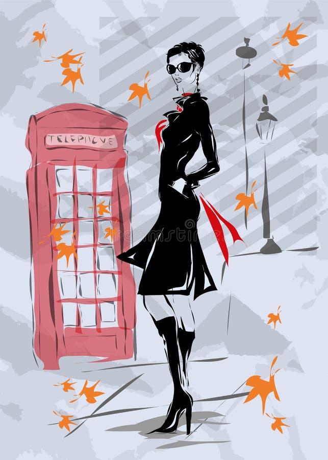 Fashion woman in London stock illustration