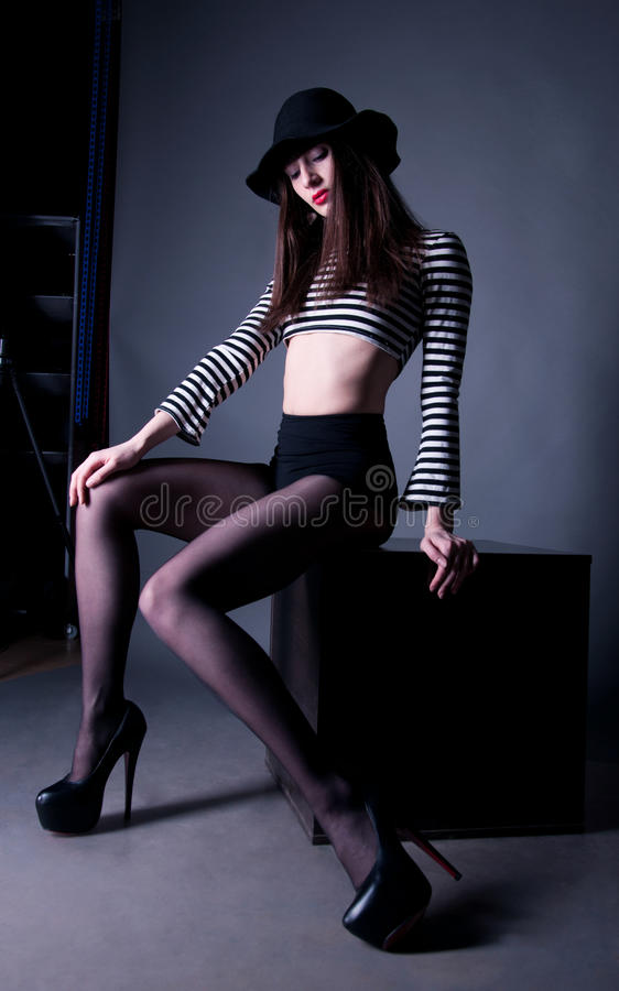 Fashion woman with long legs