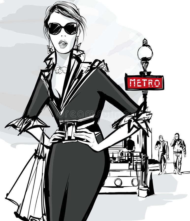 Fashion woman model shopping in Paris stock illustration
