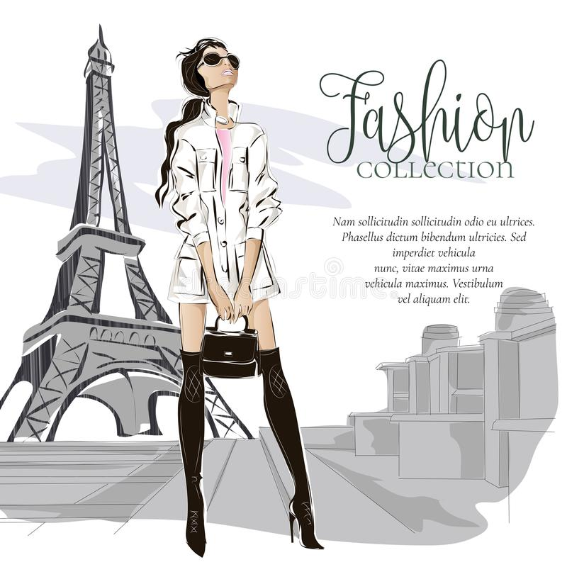 Fashion woman near Eiffel tower in Paris, fashion banner with text template, online shopping social media ads with beautiful girl. Vector illustration art royalty free illustration