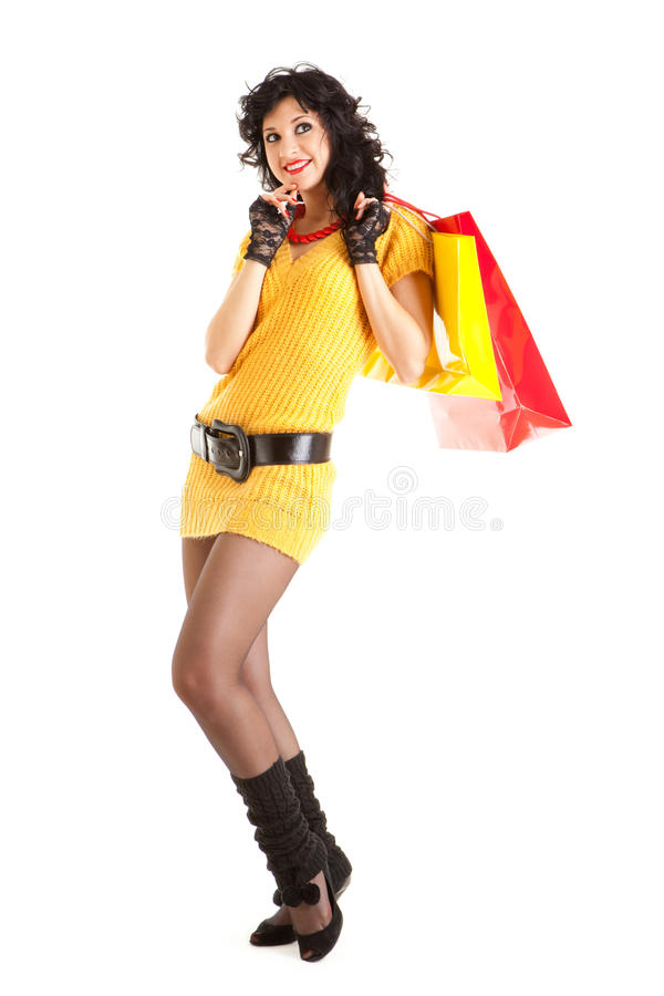 Fashion woman with packages. Fashion woman with color packages stock image