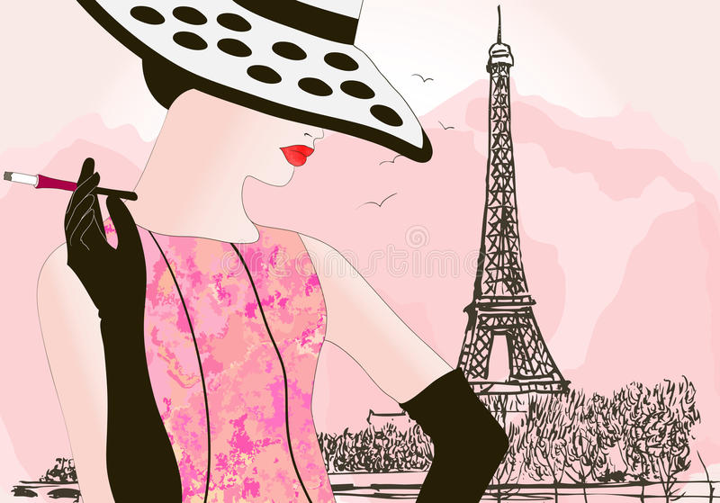 Download Fashion woman in Paris stock vector. Illustration of seine - 20205210