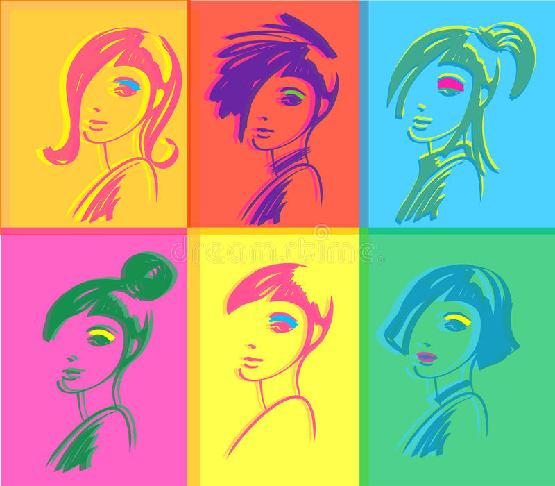 Fashion woman pop art. Young fashion woman design, pop art seamless pattern stock illustration