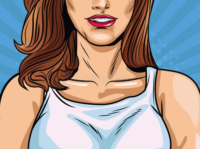 Fashion woman pop art cartoon. Vector illustration graphic design vector illustration