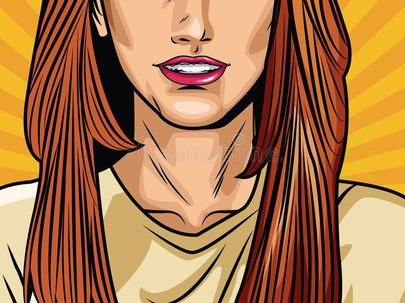 Fashion woman pop art cartoon. Vector illustration graphic design royalty free illustration