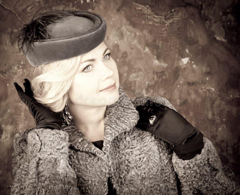 Fashion Woman Portrait. Vintage Style. Retro Glamour Girl. stock photos