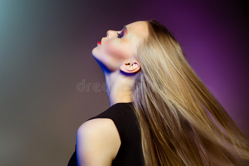 Fashion woman with Professional makeup and hairstyle stock photo