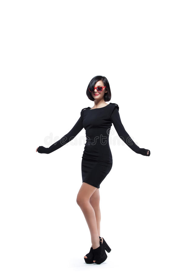 Fashion woman in red sunglasses royalty free stock photo