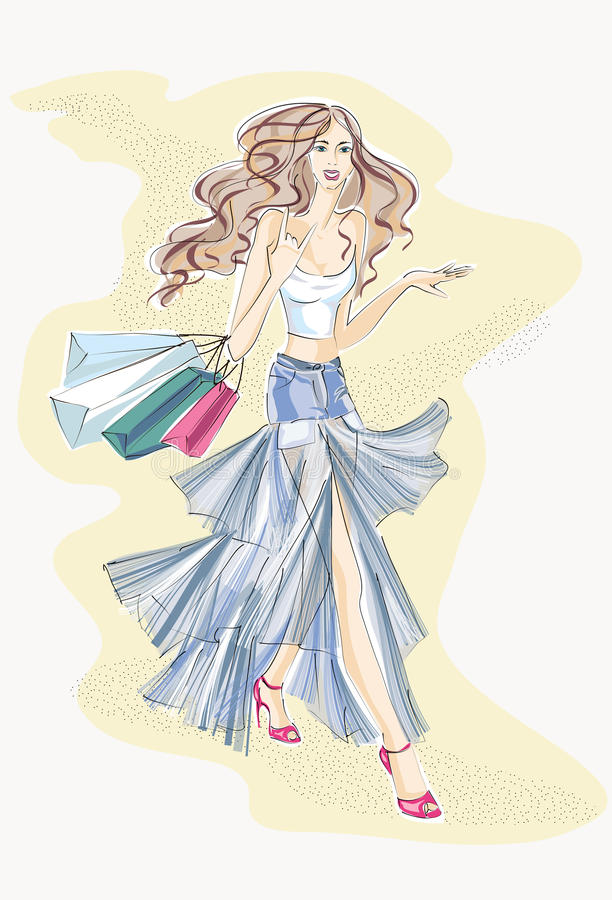 Fashion woman with shopping bags vector illustration