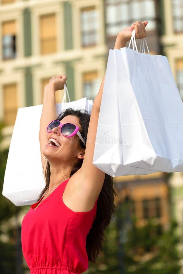 Fashion woman shopping fun in Spain royalty free stock photo