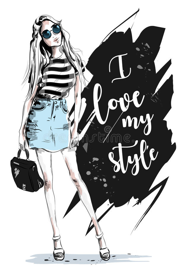 Fashion woman with slogan on background. vector illustration