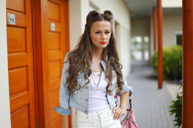Download Fashion woman on street stock image. Image of background - 26387951