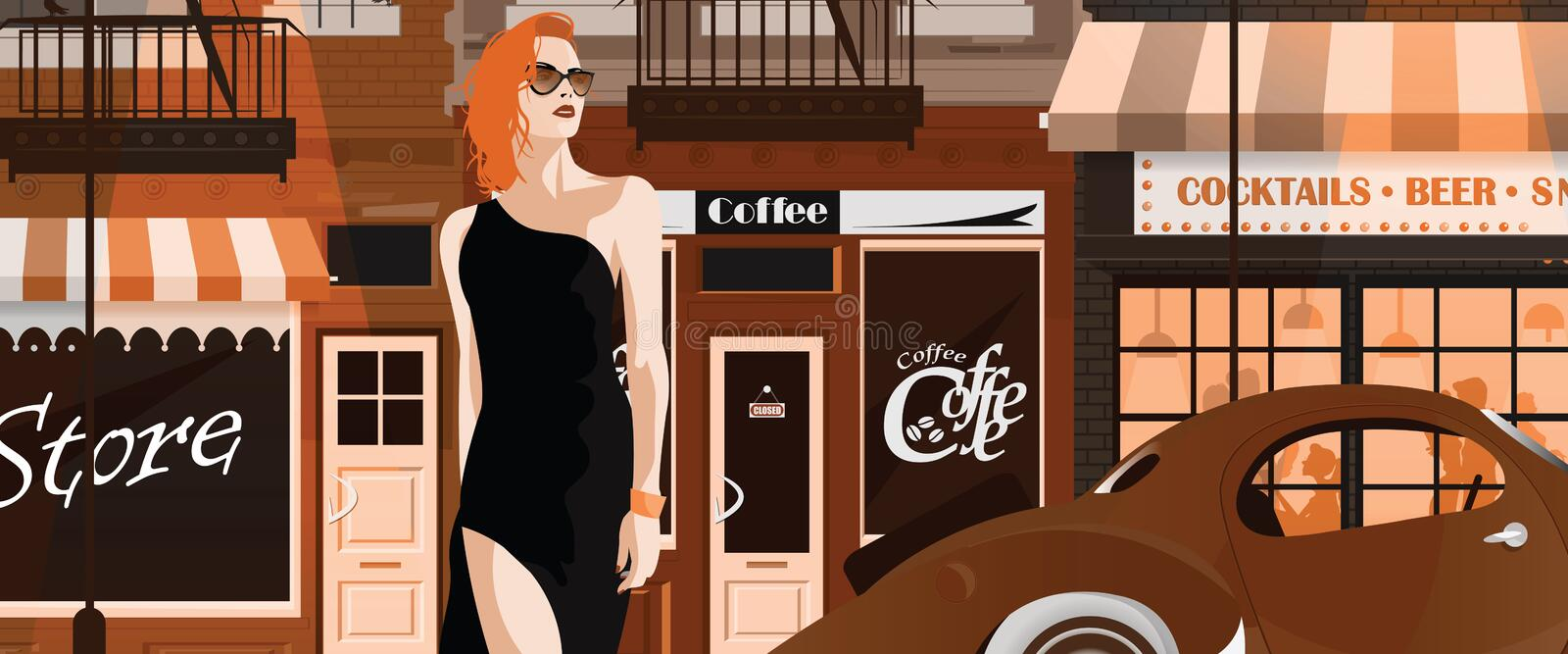 Fashion woman in style pop art. Fashion woman in style pop art The girl on the street of New York. Vector illustration royalty free illustration