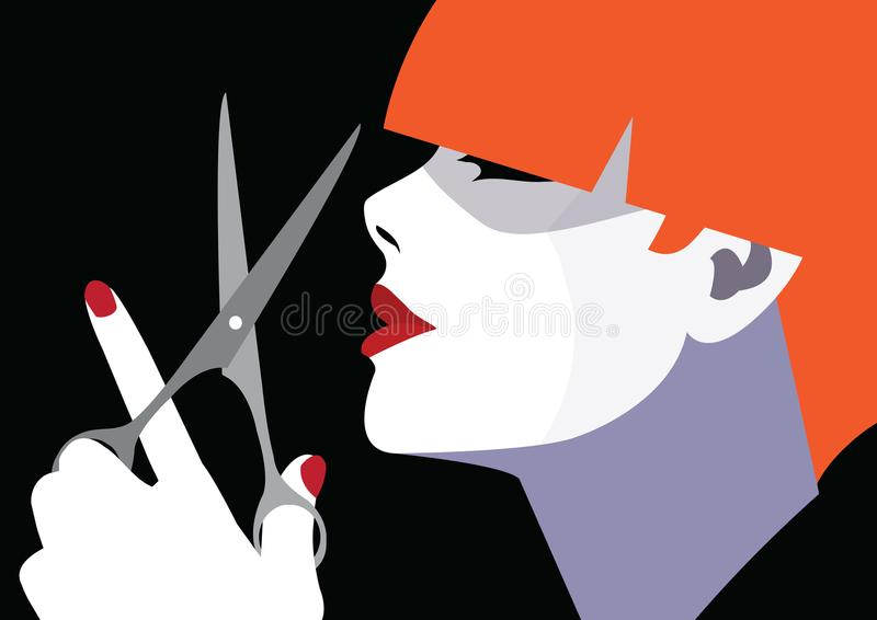 Fashion woman in style pop art. Fashion woman in style pop art with scissors. Vector illustration vector illustration