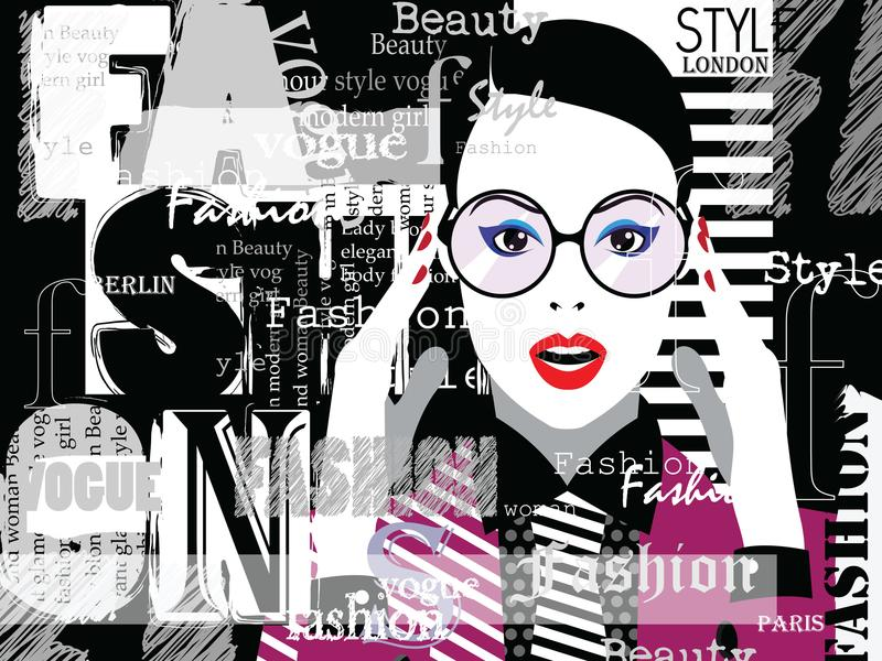 Fashion woman in style pop art. Fashion woman in style pop art with typographics. Vector illustration vector illustration