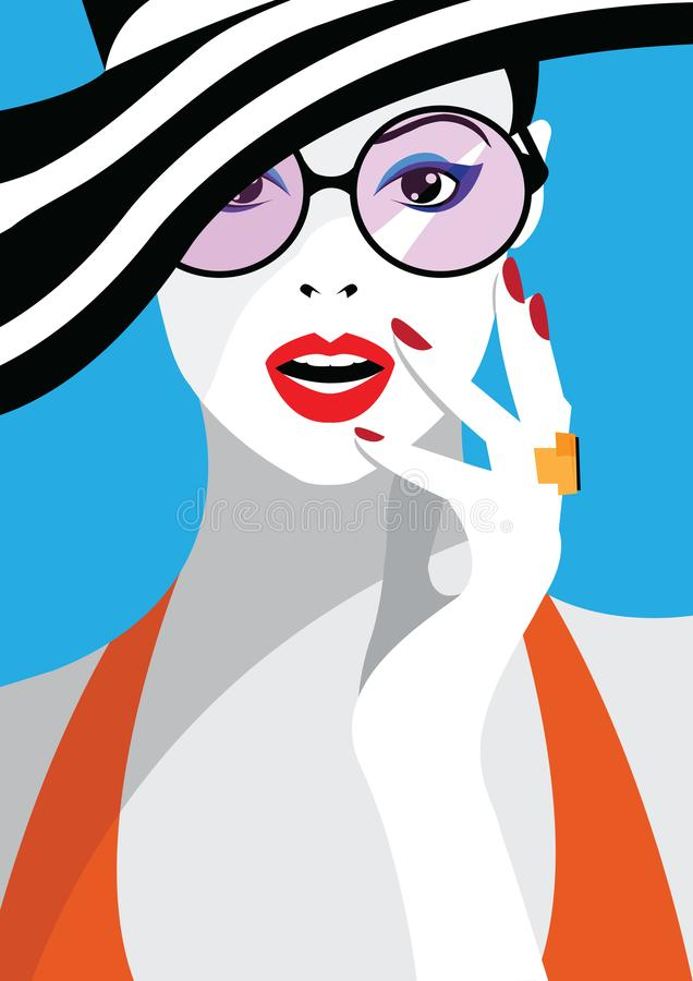 Fashion woman in style pop art. Vector illustration royalty free illustration