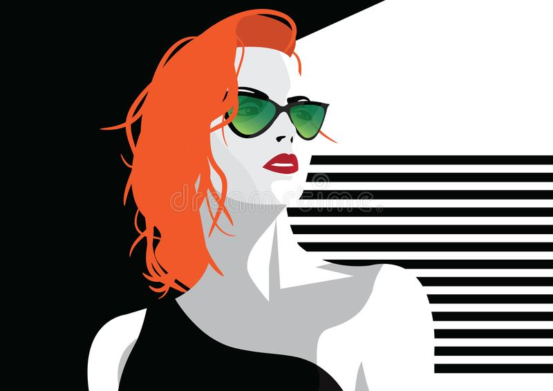 Fashion woman in style pop art. Vector illustration stock illustration