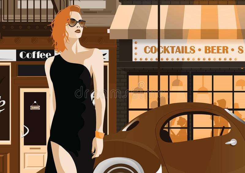 Fashion woman in style pop art. Fashion woman in style pop art The girl on the street of New York. Vector illustration stock illustration