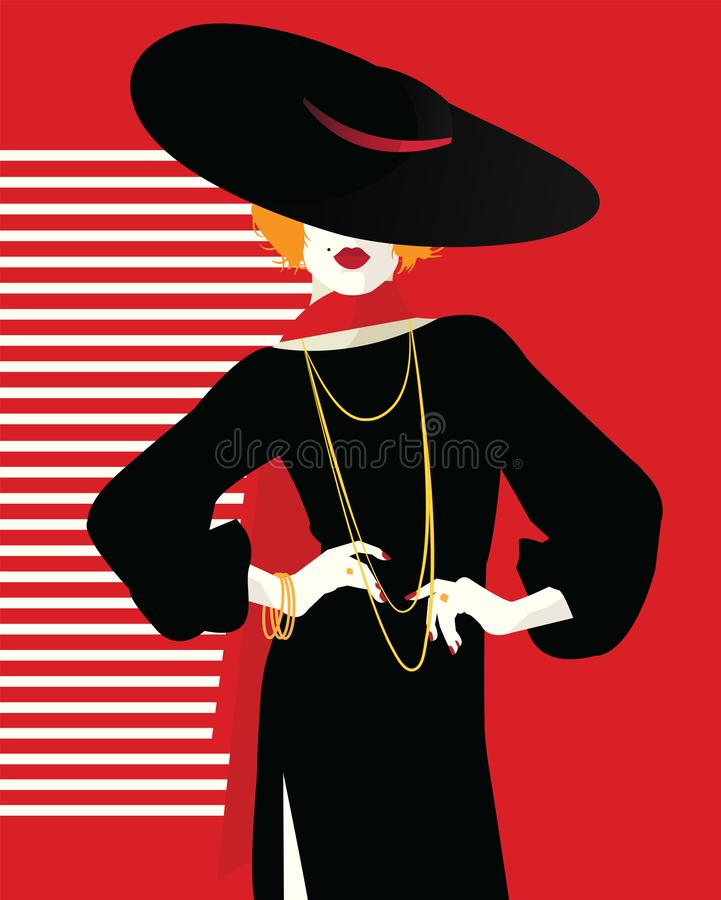 Fashion woman in style pop art. Fashion illustration royalty free stock photos