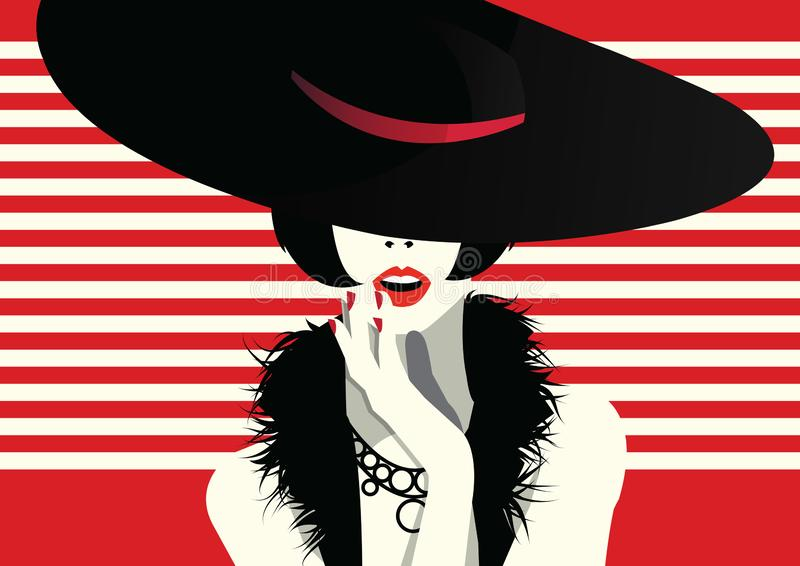 Fashion woman in style pop art. Fashion illustration stock images