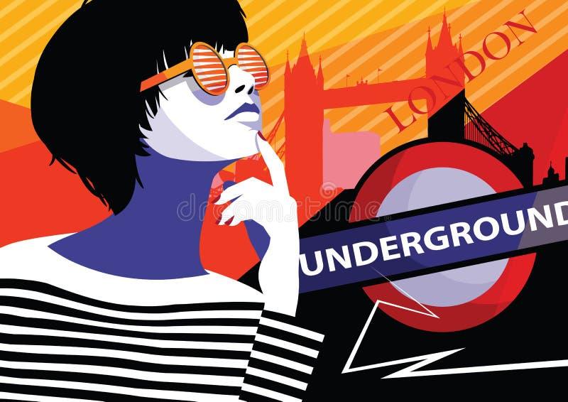 Fashion woman in style pop art in London. Vector illustration vector illustration