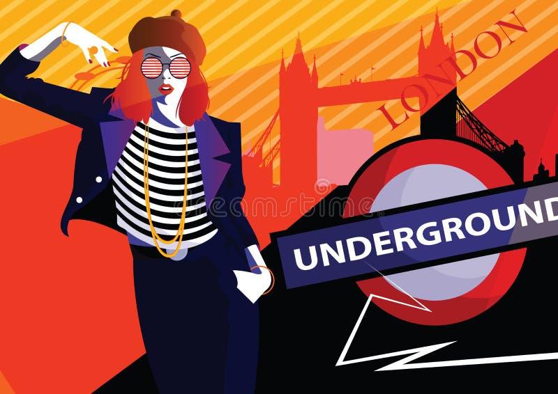 Fashion woman in style pop art in London. Vector illustration stock illustration