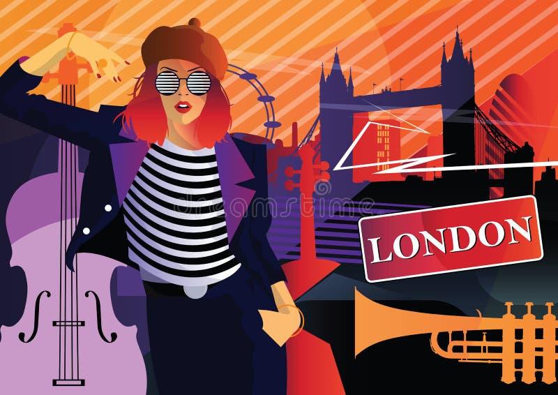 Fashion woman in style pop art in London. royalty free illustration
