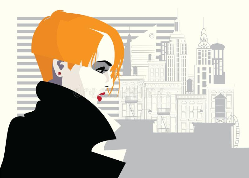 Fashion woman in style pop art. Vector illustration. Fashion woman in style pop art in New York royalty free illustration