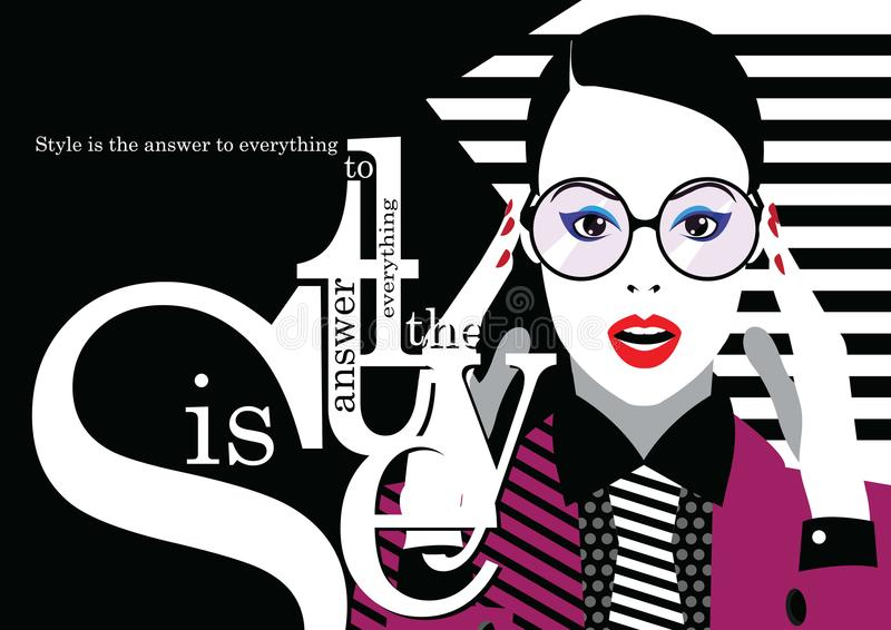 Fashion woman in style pop art. Fashion quote with woman in style pop art. Vector illustration vector illustration