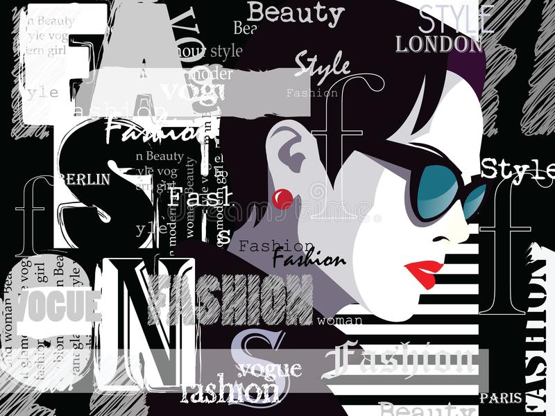 Fashion woman in style pop art. Fashion woman in style pop art with typographics. Vector illustration stock illustration