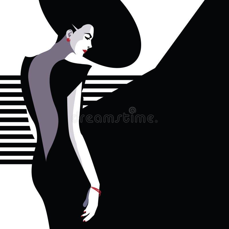 Fashion woman in style pop art. Vector illustration royalty free illustration