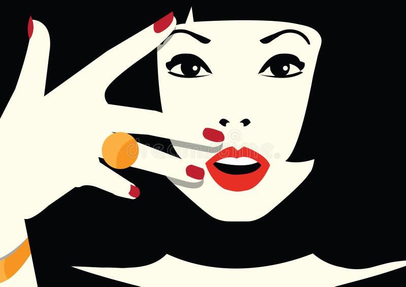 Fashion woman in style pop art. Vector illustration stock illustration