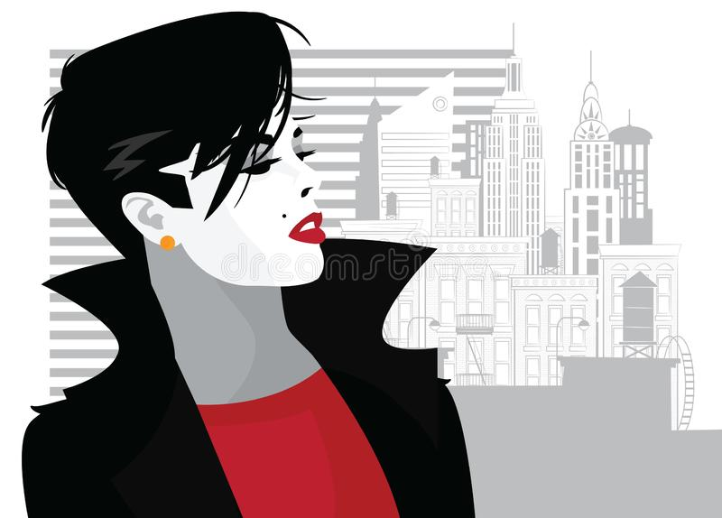 Fashion woman in style pop art. Vector illustration. Fashion woman in style pop art in New York. Vector illustration royalty free illustration